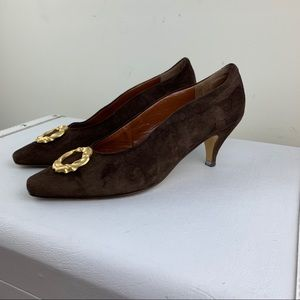Vintage Paloma Brown Suede Pointy Toe Heels